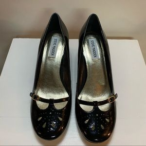 Steve Madden Black Leather Mary Jane Style Wedges